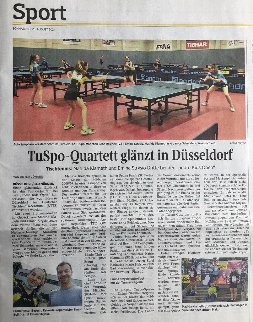 Quartett der TuSpo Bad Münder glänzt in Düsseldorf